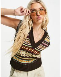 ASOS Knitted Vest With Fairisle Pattern - Multicolor