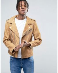Casual Friday - Biker Jacket In Tan Leather - Lyst