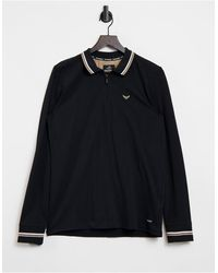 Threadbare Long Sleeve Polo Shirt - Black