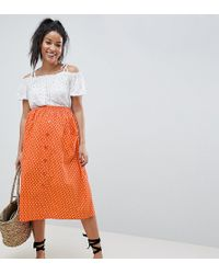 497af5fca ASOS - Asos Design Maternity Cotton Midi Skirt With Button Front In Orange  Spot - Lyst