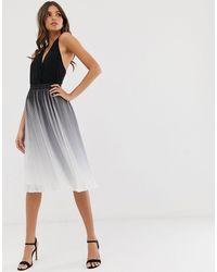 Chi Chi London Falda midi colour block plisada con efecto teñido anudado monocromático - Multicolor