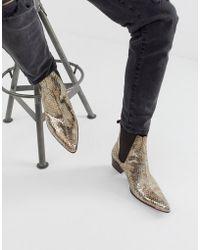 Jeffery West Sylvian - Cubaanse Laarzen Met Gouden Slangenprint - Metallic