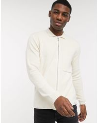 New Look Zip Through Cardigan With Collar - White
