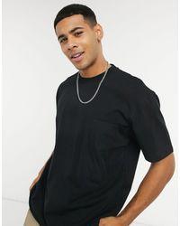 TOPMAN T-shirt With Woven Pocket - Black