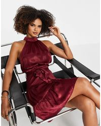 Trendyol Vestido color con cuello alto - Rojo