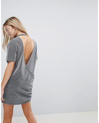 Uncivilised - Metallic Open Back T-shirt Dress - Lyst
