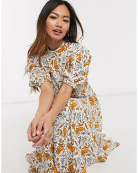 Ghost Luella Crepe Pineapple Print Midi Dress - Multicolour
