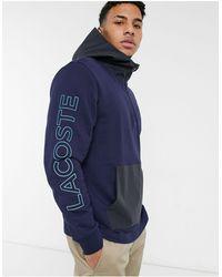 Lacoste Bicolour Hooded Zip Sweatshirt - Blue