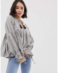 Pull&Bear - Tie Neck Tunic Top In Stripe - Lyst