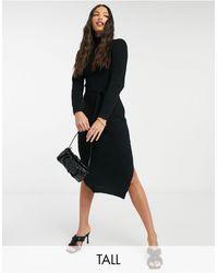 Missguided - Vestito lungo accollato con cintura nero - Lyst