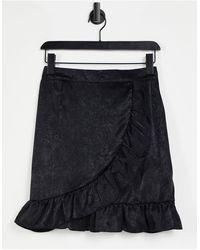 Lola May Ruffle Wrap Front Mini Skirt - Black