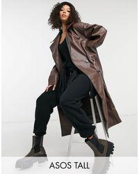 ASOS Коричневое Oversized-пальто Из Искусственной Кожи - Коричневый