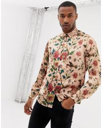ASOS Regular Fit Shirt With Floral Print In Pink Satin