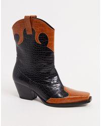 Monki Nettan Vegan Leather Croc Print Boots - Black