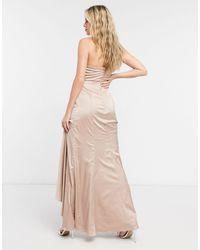 Chi Chi London Атласное Платье Цвета Шампанского Tasha-белый
