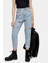 TOPSHOP Mom Jeans With Double Knee Rips - Blue