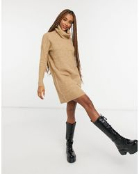 ONLY Коричневое Платье-джемпер С Высоким Воротником -коричневый