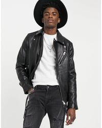 AllSaints Allsaint rigg Biker Leather Jacket - Black