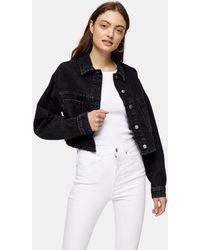 TOPSHOP Cropped Recycled Cotton Blend Denim Jacket - Black
