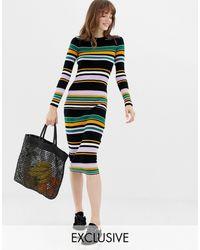 Monki Multi Stripe Midi Knit Dress - Black