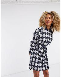 Lacoste Diamond Design Button Front Dress - Blue