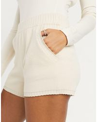 Y.A.S Co-ord Knitted Shorts - Natural