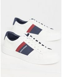 Jack & Jones Faux Leather Trainers With Stripe Logo - White