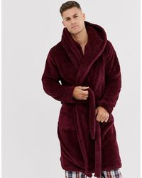 ASOS Lounge Fleece Dressing Gown - Red