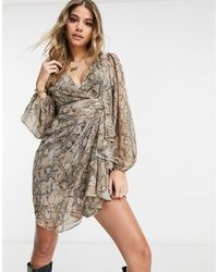 Lipsy Wrap Mini Dress - Brown