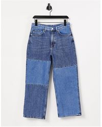 Monki Mozik - jean droit à empiècements style patchwork - délavage moyen - Bleu