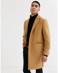 ASOS Wool Mix Overcoat In Camel - Multicolor
