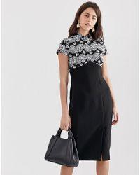 Closet Wardrobe Mandarin Collar Pencil Dress - Black