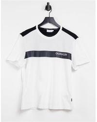 Calvin Klein Белая Футболка С Контрастной Полоской И Логотипом На Груди -белый