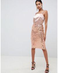 ASOS Midi Sequin Tube Skirt - Metallic