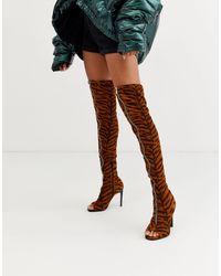 ASOS Kyoko Peep Toe Thigh High Boots - Blue