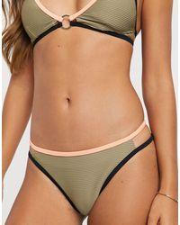 River Island Stripe High Leg Bikini Bottoms - Natural