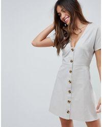 ASOS - Button Through Mini Casual Skater Dress - Lyst