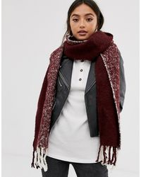 ASOS - Fluffy Two Tone Colourblock Scarf In Burgundy And White - Lyst