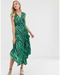 Warehouse Midi Dress With Cowl Back - Green