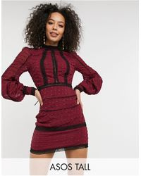 ASOS Asos Design Tall Victoriana Mini Dress With Lace Inserts - Red