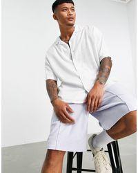 Bershka Льняная Рубашка В Стиле Oversized Белого Цвета С Отложным Воротником -белый
