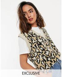 Daisy Street Canotta maglione lavorata a maglia leopardata - Marrone