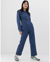 ASOS - Denim Utility Overall In Middenblauwe Wassing - Lyst