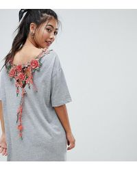 cf044c0f0f71 ASOS Asos Design Maternity T-shirt Dress With Rose Embroidery in ...