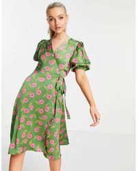 Liquorish Зеленое Платье Миди С Запахом И Цветочным Принтом -зеленый Цвет