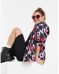 Love Moschino - Черная Куртка С Капюшоном И Разноцветными Логотипами -черный - Lyst