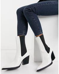 Bershka Western Heeled Boot With Contrast Tab - White