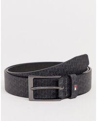 Tommy Hilfiger Layton Leather Belt In Black Monogram Print