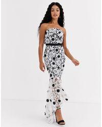 Chi Chi London Lace Pencil Dress - White