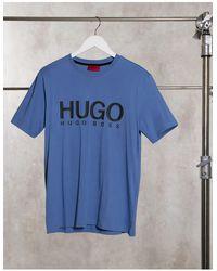 HUGO Dolive - T-shirt à grand logo - Bleu